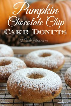 Pumpkin Chocolate Chip Cake Donuts. Bakerette.com