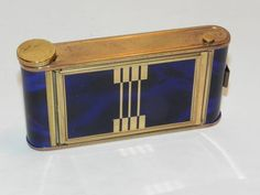 """Deep blue, guilloche powder compact, cigarette and lipstick carry-all in the form of a Camera Case often refered to as a """"Kamra"""" . #artdecoelegance"""