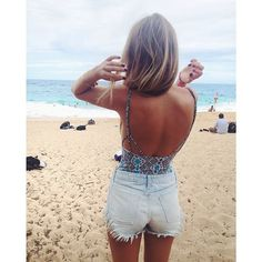 Great low back one piece idea for the summer