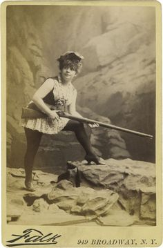 """""""Tammy Kemble"""" Circa. 1880's.  Appears to be an Wild West actress posing for photographer Falk in New York, penciled on verso """"Tammy Kemble""""."""