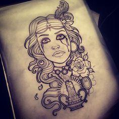 flowers jewels neotraditional tattoo sleeve tears skull bandana candle ...