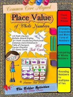 PLACE VALUE MATH CENTERS 256 TASK CARDS COMMON CORE ALIGNED from TeachToTell on TeachersNotebook.com -  (154 pages)  - Empower your students to be independent learners with this pack of 256 task cards that focus on generalizing place value understanding in your math centers.