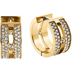 Michael Kors Heritage Huggie Hoop Earrings , Gold ($135) ❤ liked on Polyvore featuring jewelry, earrings, gold, diamond earrings, pandora jewelry, gold jewellery, engraved jewelry and yellow gold hoop earrings