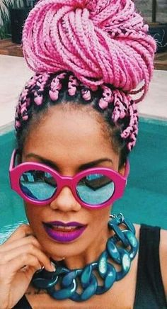 Colorful curly hair box braids , curly gang