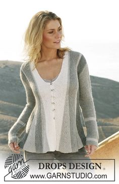 """106-1 pleated jacket, knitted from side to side in garter st in """"Alpaca"""" and """"Cotton Viscose"""""""