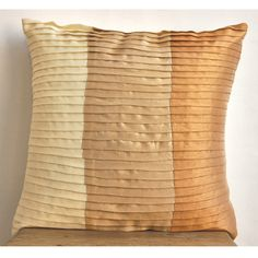 Shades Of Glory Decorative Beige Silk Throw Pillow Cover, 12x12 inch #TheHomeCentric #Casual #DecorativeThrowPillowCover