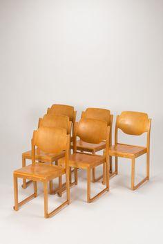 6 Sven Markelius Chairs Birch