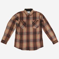 Grise Shirt via Polyvore featuring tops, wool tops, brown plaid shirt, plaid button up shirts, brown button up shirt and brown shirts