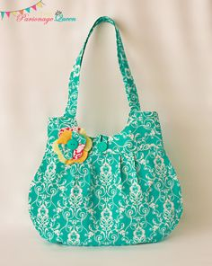 Turquoise Damask Handmade Purse or Shoulder Bag with Flower Pin f522ddf469c2a