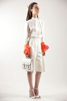 What a woman may wish to express today? MARTA CUCINIELLO expresses the sensibility of women from another time .. SS14 http://blog.martacucciniello.com/post/87274126169/summer-2014-white-orange