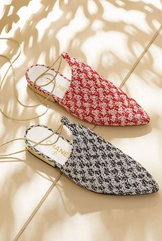 Glitter tweed slippers with... - CHANEL