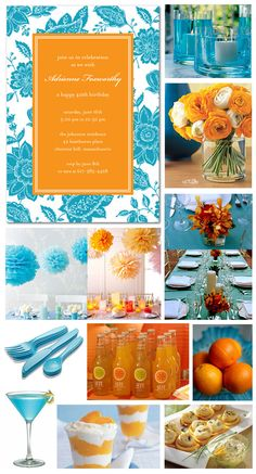 I'm stuck on the orange & turquoise. Who cares it's a 40th bday invite. Just focus on the colors....