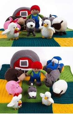 Free Knitting Patterns for Farmyard Favorites - Designed by Amanda Berry, this set includes patterns for the pictured animals, farmer, barn, tractor, and mat. Kit is also available.