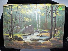 Vintage Paint by number, brook in the forest   Flickr - Photo Sharing!