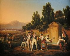 Hippolyte Lecomte - Napoleon's Troops in the Lazio Countryside Italian Campaign, France, Napoleonic Wars, Impressionism, Troops, Countryside, 19th Century, Officiel, 18th