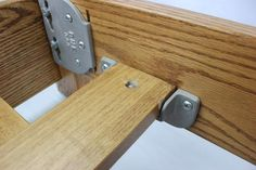 Very heavy duty brackets that are very easy to install. These brackets are made for slats that help support your box spring and mattress. The slats will need a hole drilled for the pin. Each package contains: Shelf Support Brackets, Shelf Supports, Cnc Table, Table Saw, 1x4 Wood, Homemade Beds, Bed Hardware, Cabinet Hardware, Garage Tool Storage