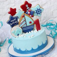 Ideas Cake Birthday Boy Kids For 2019 Sweet Cakes, Cute Cakes, Buttercream Cake, Fondant Cakes, Cake Designs For Girl, Cake Structure, Nautical Cake, Baby Shower Cakes For Boys, Sugar Cake