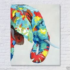 Hand-painted Animal oil painting on canvas(Unframed)abstract Elephant 20x24inch in Art, Art from Dealers & Resellers, Paintings | eBay