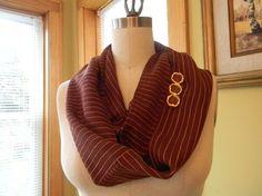 Brick Color With Orange Stripes Silk Chiffon Infinity by Olimpias