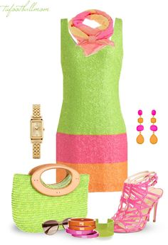 """""""Color Block"""" by tufootballmom ❤ liked on Polyvore,green,pink and orange,lovely spring colors"""