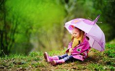 Dziewczynka, Łąka, Parasol, Las