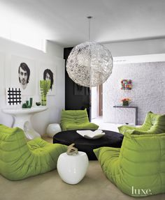 Vivid Green Chairs Add Colorful Twist To Relaxing Lounge Area