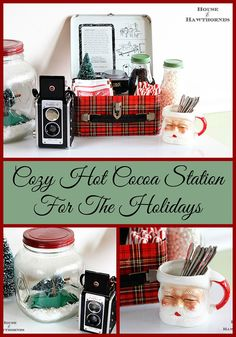 A vintage inspired hot cocoa station for the holidays.  Love the old Santa mug!  via houseofhawthornes.com