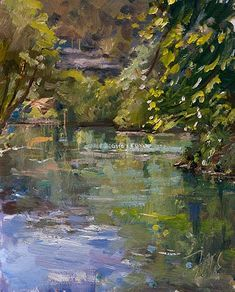 daily painting titled The Sorgue at Fontaine de Vaucluse - click for enlargement