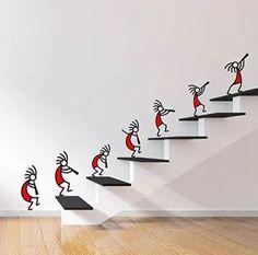 Buy DeStudio 'Kokopelli Red Band' Wall Sticker (PVC Vinyl Film, 110 cm x 75 cm x… - Work-toptrendpin. Creative Wall Painting, Creative Wall Decor, Wall Painting Decor, Mural Wall Art, Diy Wall Art, Diy Home Crafts, Diy Home Decor, Room Decor, Wall Sticker Design