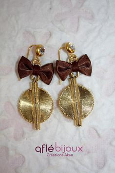 Aflé Bijoux  Brown Satin Bow  and Crystals Earrings. #aflebijoux #bijoux #jewelry #etsy