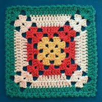 Crochet Granny Square Patterns Nina's At My House: Free Crochet Pattern Motifs Granny Square, Granny Square Blanket, Crochet Blocks, Granny Square Crochet Pattern, Crochet Squares, Crochet Motif, Crochet Stitches, Free Crochet, Crochet Patterns