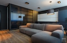 is a project designed by Sirotov Architects for young men in a modern style, covers an area of square meter and is located in the center of Kiev. Photography by Sirotov Architects Apartment Interior, Apartment Design, Interior Architecture, Interior Design, Luxury Rooms, Living Styles, Best Sofa, Minimalist Interior, Minimalist Style