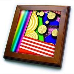 Yellow, Red, Pink, Green, Aqua Stripes and Floating Discs in a Three D Type Shadow Box Framed Tile