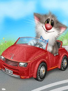 KITTY DRIVING A RED SPORTSCAR