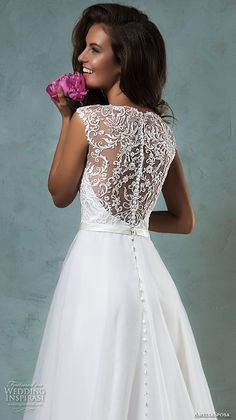 amelia sposa 2016 wedding dresses sleeveless thick lace strap embroidered lace bodice tulle skirt pretty a line gown etna back view close up