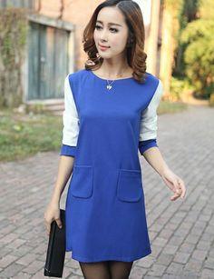 $9 Elegant Hand Pockets Raglan Sleeve Dress in Contrast Color - Product #1326265 - ClothesCheap.com