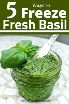 HOW TO FREEZE FRESH BASIL. Enjoying to flavor of fresh basil in the winter is now possible. Learn 5 ways to freeze fresh basil. Soup, Pasta, Breakfast - all of these can now have fresh basil. Fresh Basil Recipes, Herb Recipes, Canning Recipes, Healthy Recipes, Freezing Vegetables, Fruits And Veggies, Preserving Basil, Basil Harvesting, Freezing Basil