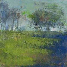 Hannah Woodman, 'Blue Shadows, Corner of the Field' Oil on canvas 45 x 45cm