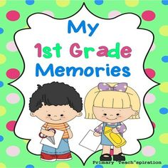 End of Year Memory Book - 1st Grade -This end-of-year memory book includes 19 pages of end-of-year activities for 1st grade student memory books. Pages are in black and white so 1st Grade students can color their own end-of-year memory books, and you can save on ink.