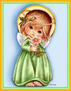 """""""August Angel""""- Copyrighted design from Ladybug Angel Pictures, Cute Pictures, Angel Cards, Angels In Heaven, Native American Art, Cute Illustration, Christmas Pictures, Christmas Angels, Cherub"""