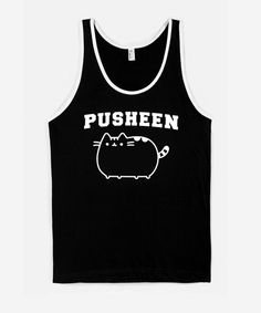 "Sporty Pusheen tank top (unisex) - Hey Chickadee // It has :3 printed on the back in ""Varsity"" style type."