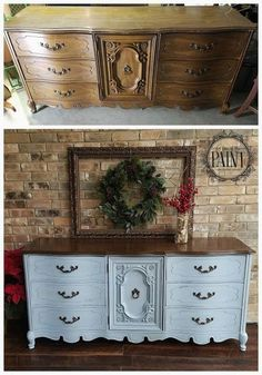For Love of the Paint: Before and After : 9 Drawer Bassett French Provincial Dresser in Annie Sloan Chalk Paint Louis Blue and General Finishes Antique Walnut Gel Stain. A gorgeous combination for your DIY or upcycle project, perfect for a modern vintage, farmhouse style, or shabby chic home decor! #shabbychicfurniturebeforeandafter