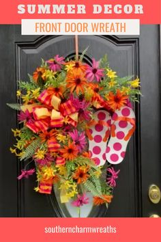 Decorate your front door for summer with a full and beautiful summer wreath. Full of bright colors and premium flowers and greenery, this wreath will show perfectly from your front door to the road. The bow and the flip flops add the finishing touches for this summer decor! Wreaths For Sale, Spring Wreaths, Summer Wreath, How To Make Wreaths, Holiday Wreaths, Door Wreaths, 4th Of July Wreath, Seasonal Decor, Fall Decor