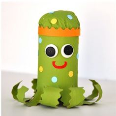 Cardboard Tube Octopus made from one of those discarded cardboard tubes. Cute and easy craft for young kids. www.freekidscrafts.com