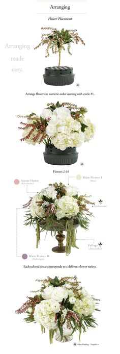 A Reusable, Do-It-Yourself Flower Arranging Kit with Step-by-Step Instructions to show you how to Arrange Flowers like a Professional! Hydrangeas, roses & ranunculus