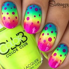 — Solo shot of my mani from the I did with These are so bright! Tutorial will be up later Cute Pink Nails, Fancy Nails, Love Nails, My Nails, Polish Nails, Fabulous Nails, Gorgeous Nails, Raiders, Nailart