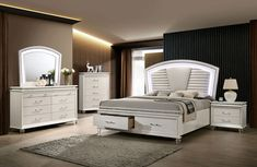 Maddie Collection features padded upholstered Headboard, emphasizing the pearl white finish. The dresser and chest features acrylic legs, crystal accents, and a beveled mirror with LED light creating a glamorous aesthetic. Bedroom Furniture Sets, Bedroom Sets, Bedroom Decor, Bed Furniture, Bedroom Colors, Storage Bed Queen, Bedroom Storage, California King Bedding, Dresser Sets
