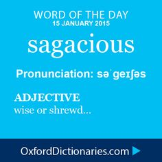 sagacious (adjective): wise or shrewd. Word of the Day for 15 January 2015 #WOTD #WordoftheDay #sagacious