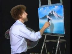 """Bob Ross and """"The Joy of Painting:"""" Snow on the mountains (from DVD #D10..."""