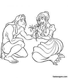 Printable Disney Tarzan And Jane Cartoons Coloring Pages - Printable Coloring Pages For Kids